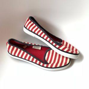 Merona Nautical Red and White Striped Flats